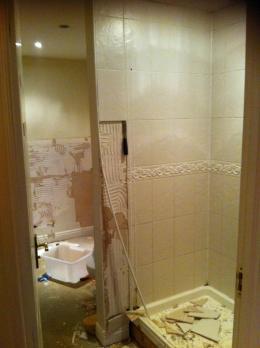 Ensuite shower room old suite torn out
